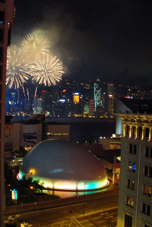 Fireworks over Victoria Harbor on National Day